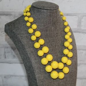 Vintage Canary Yellow Bead Gold Necklace Statement